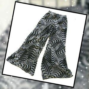 SALE! Bebe Black/Wht Printed Sheer Palazzo Pants